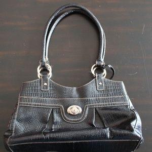 Etienne Aigner Black Leather Croc Embossed Handbag